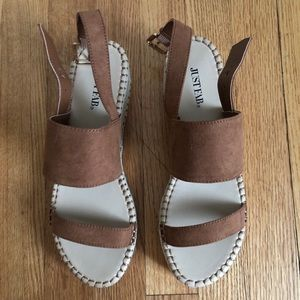 JustFab Espadrilles Platform Sandals 7.5